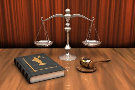 14671069 - high resolution illustration of attributes of justice: gavel, scale and law book on the table
